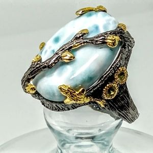 Larimar Sterling Silver and 14K Gold accents Ring